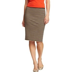 [Old Navy] Black Tan Striped Jersey Pencil Skirt
